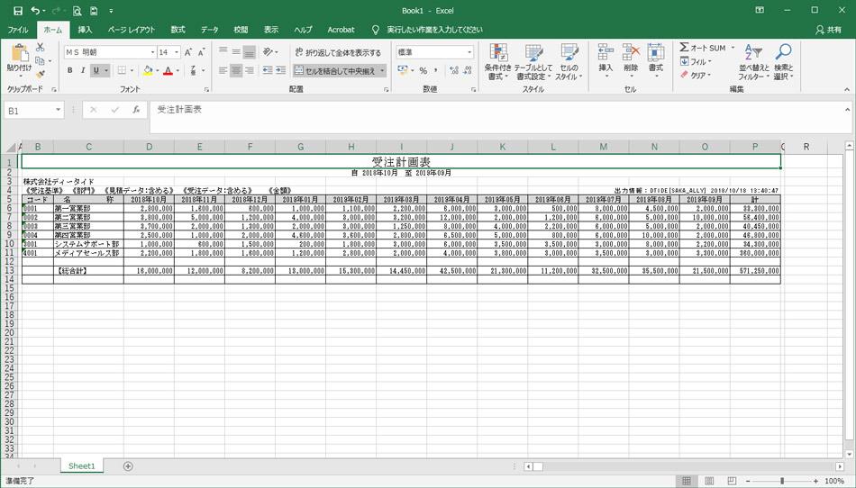 年間計画表 出力帳票一覧 販売管理システムAlly ディータイド